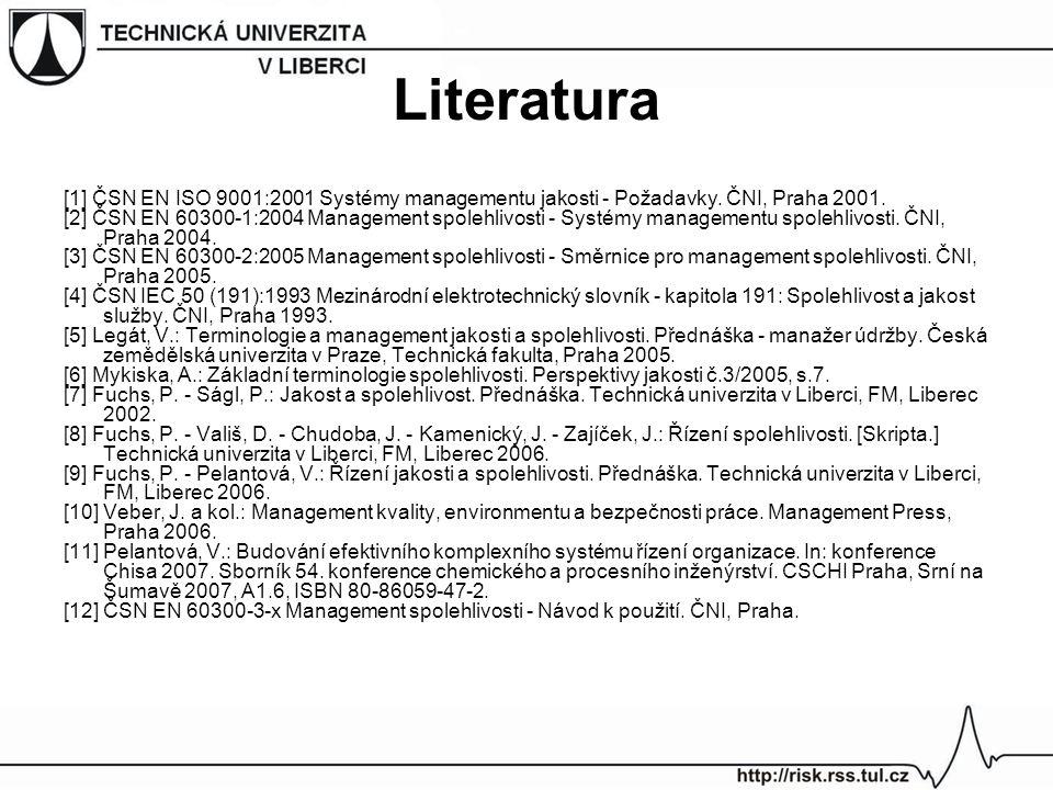Literatura [1] ČSN EN ISO 9001:2001 Systémy managementu jakosti - Požadavky. ČNI, Praha 2001.